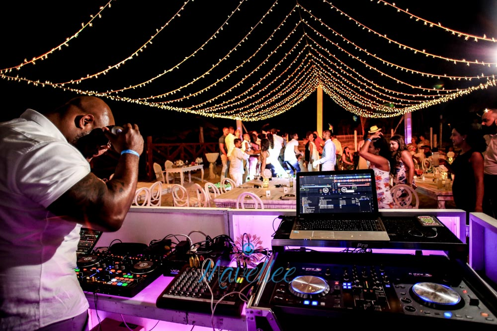 outdoor beach wedding dj booth