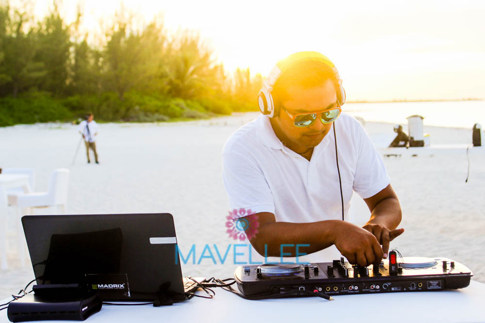 Audio and lighting beach weddingdj